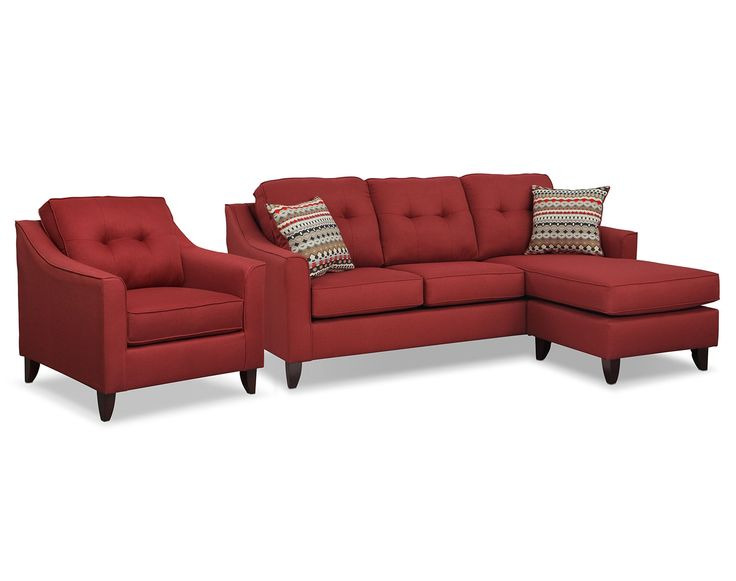 Marco red sectional living room collection value city for Red sectional sofa value city