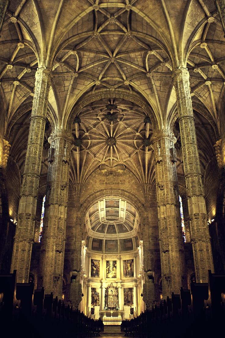 Inside Jerónimos Monastery. Lisbon, Portugal
