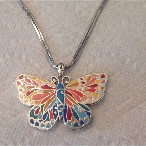 "Brighton Butterfly Pendant Authentic Brighton ""Water Garden"" Statement Pendant. This is a good size and can be worn long or the chain can be doubled for a short look. Brighton Jewelry Necklaces"
