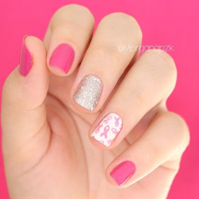 Unhas para o Outubro Rosa. #Nails #NailPolish #PinkOctober #Rosa #Glitter #NailDesign #Nails. By @morganapzk