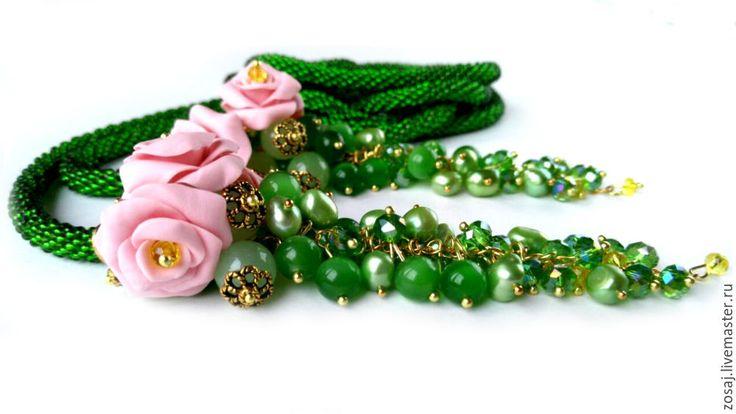 """Купить Лариат из бисера """"Ранняя весна"""" - зеленый, лариат, лариат купить, лариат из бисера"""