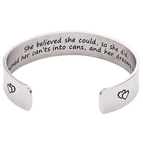 Melix Home She Believed She Could  So She Did Cuff Bracelet (White)