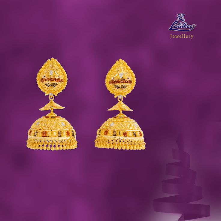 LALITHAA_JEWELLERY Alluring Jimikki set that suits for both salwar and saree and makes you look gorgeous. For more collections login - www.lalithaajewellery.com.    Indian Jewellery  Indian Silver Jewellery  Online Jewellery India Platinum Earrings Design Traditional Indian Jewellery