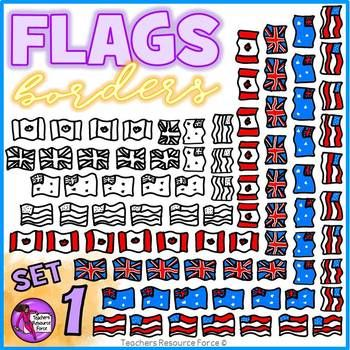 Flag Borders Clipart Doodle Style (USA, UK, Canada, Australia)