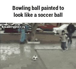 Bowling ball painted to look like a soccer ball GIF