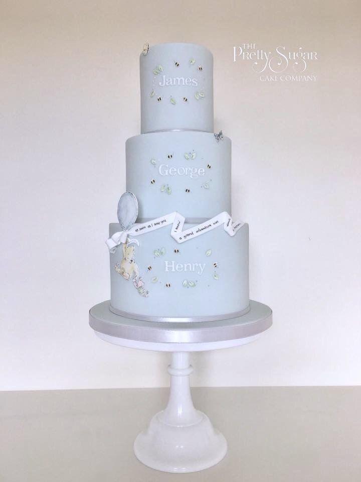 Pooh and piglet grand adventure 3 tier christening cake for triplets
