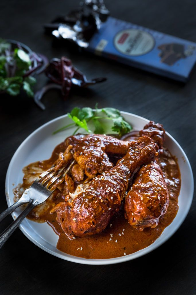 Simple Mexican Chicken Mole Recipe with Dark Chocolate - A rich, aromatic sauce with indulgent dark chocolate and exotic spices, paired with slow-cooked chicken and tortillas. It's a fiesta! | wandercooks.com
