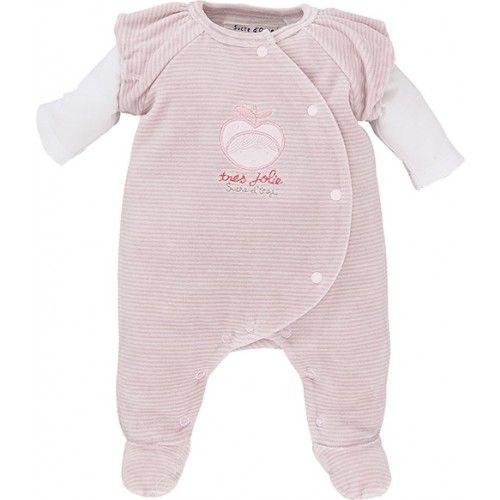 PYJAMA BEBE VELOURS ROSE PASTEL - Pyjamas, dors-bien, grenouilleres - VETEMENTS : Bébé – Sucre d'Orge