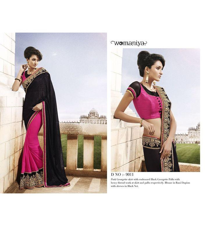 Black and pink saree Vaaman creation