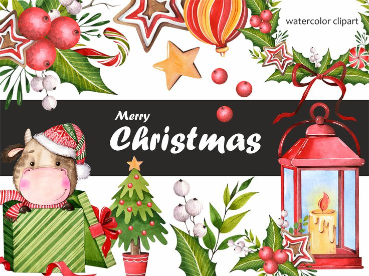 Watercolor clipart. Christmas wreath. Symbol of the year