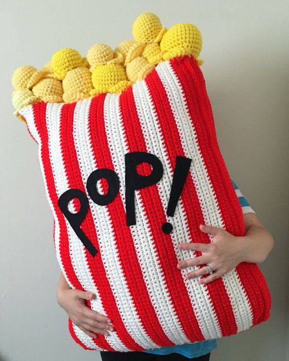 Extra Large Crochet Popcorn Food Floor Pillow by OliviaLawsArt