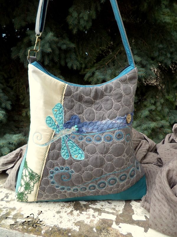 ZerVir bag with embroidered dragonfly