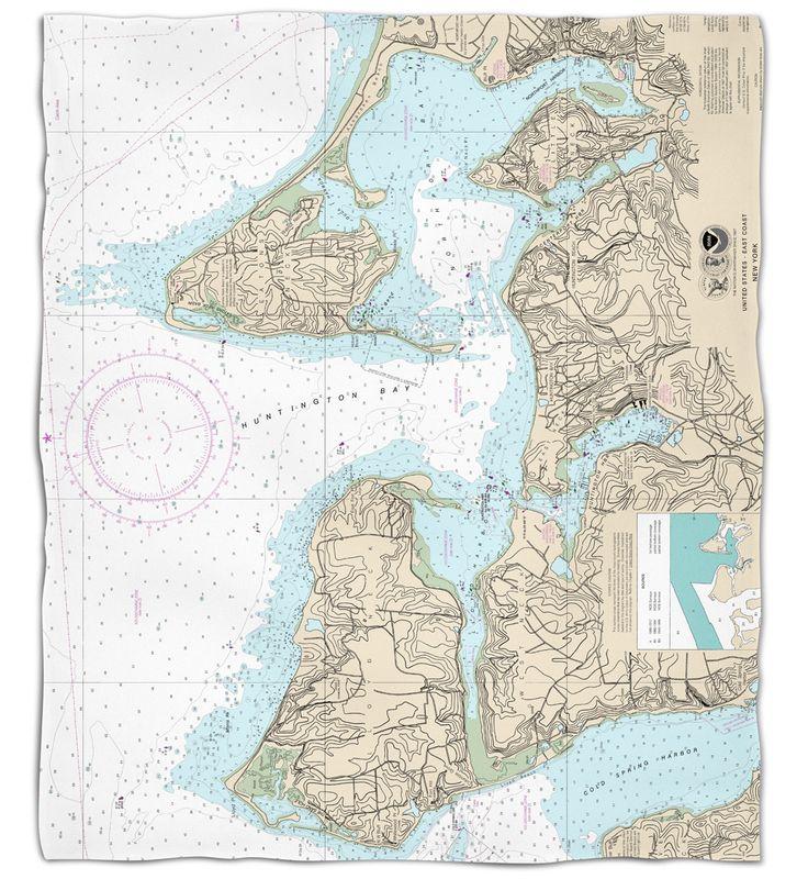 NY: Huntington Bay, NY Nautical Chart Fleece Throw Blanket
