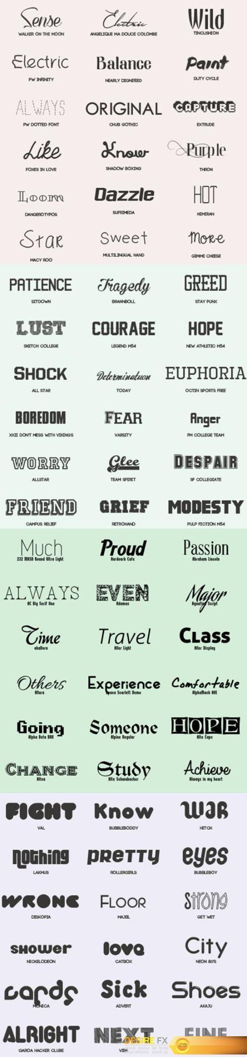 72 Fonts Pack (TTF/OTF)  http://www.desirefx.me/72-fonts-pack-ttfotf/