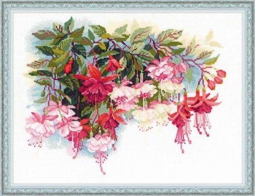 Fuchsia Cross Stitch Kit Cross Stitch Flowers Counted Cross Stitch Kits Beautiful Cross Stitch