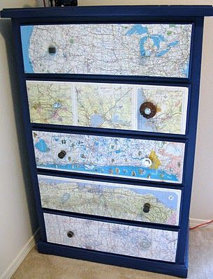 I heart this map overhaul of a tall boy dresser, but I'm not so sure about those odd handles. Hmm, maybe a project for the future.