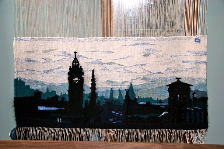 Calton View in Blue, handwoven tapestry. Inspired by view from Calton Hill in Edinburgh along Princes Street.