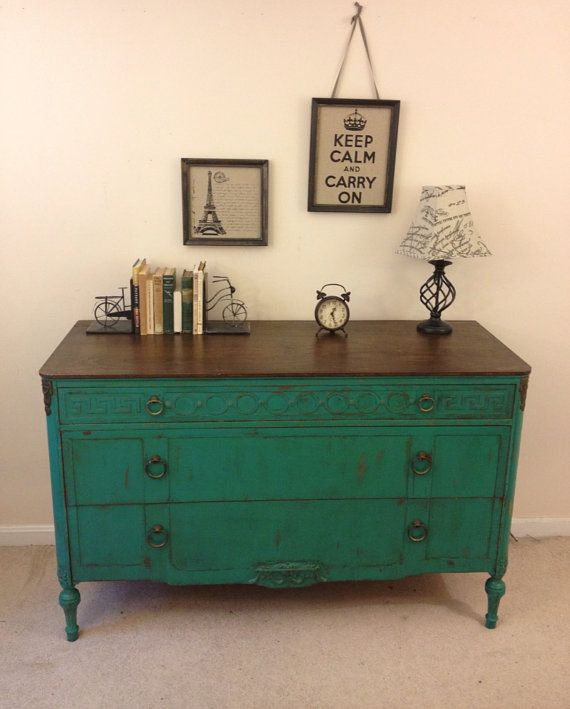Rustic Chic antique turquoise dresser painted by FurnitureAlchemy, $425.00 Painted antique dresser, shabby chic. Annie Sloan chalk paint, Florence chalk paint, turquoise and wood, painted dresser ideas