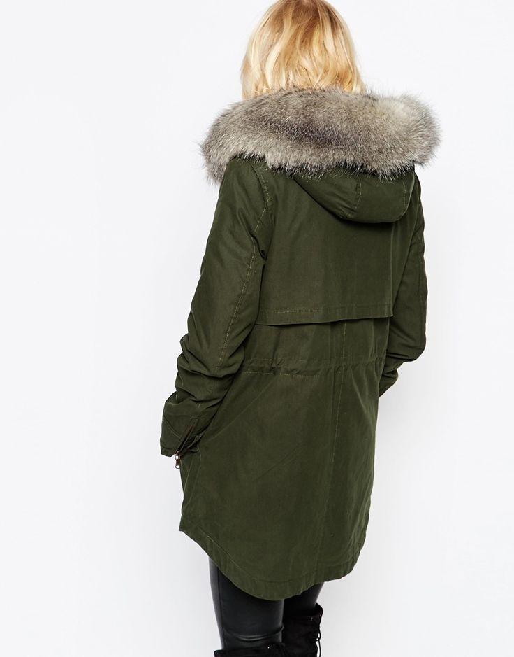 Imagen 2 de Abrigo con capucha en tejido de algodón revestido Lara de Parka London