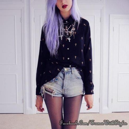 purple hair pastel goth