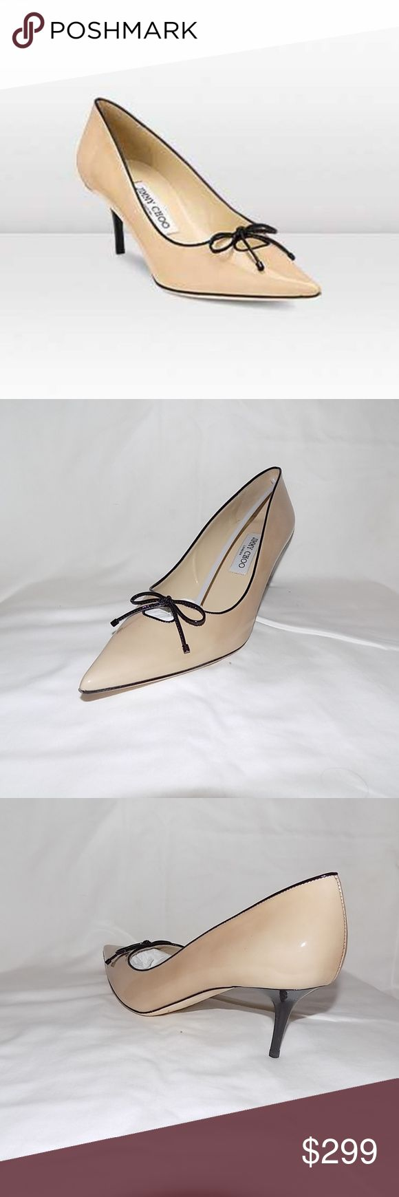 Jimmy Choo Nude Owlet Black In Box Pumps sz42 Patent Leather Pointy Toe Pumps  Jimmy Choo Shoes Colour: Black/Nude  These delicately cut out shoes with feminine bow detail make the perfect day shoes.  This product is the result of extensive research, resulting in fine details synonymous with high quality luxury. New in Box sz 42 Jummy Choo Shoes Heels