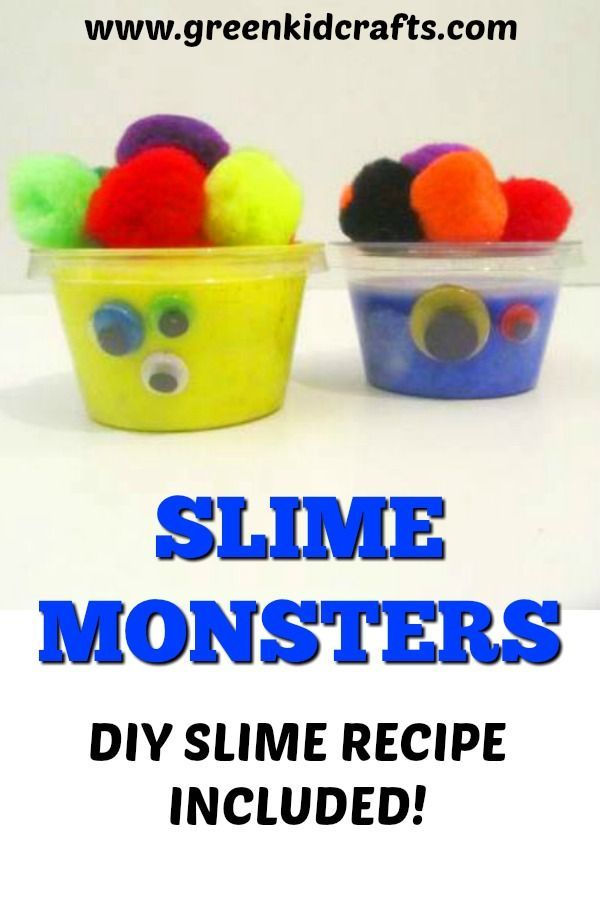 DIY slime monsters activity for kids. Make these fun monsters at home with this diy slime recipe. Science for kids using simple...