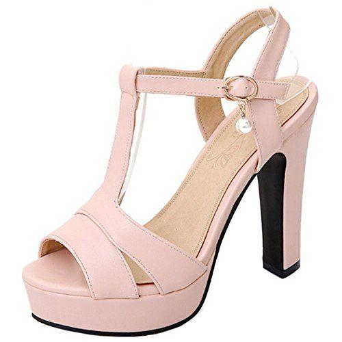 COOLCEPT Zapato Mujer Moda Peep Toe Tacon Alto Correa En T Enjoyable Plataforma Bombas Zapatos Sandalias Zapato – Comprar Gangas