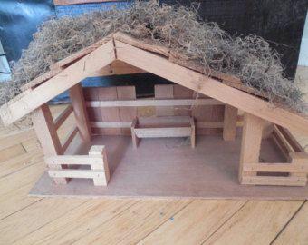 Vintage Wooden Manger Stable for Nativity Scene