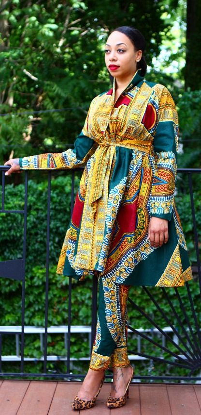 Green Dashiki Jacket/Dress Pants Set - New! Enjoy another two piece set from…