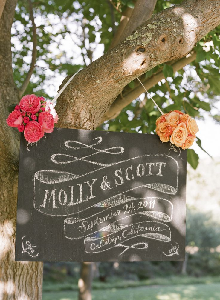 #signs, #trees, #chalkboard  Photography: Gia Canali - giacanali.com Event Design and Production: Yifat Oren & Associates - yifatoren.com/ Florals: The Velvet Garden - thevelvetgarden.com/  Read More: http://stylemepretty.com/2013/05/09/molly-sims-scott-stubers-wedding-from-gia-canali-part-i/