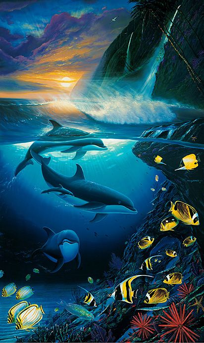 Dolphin Dawn by Wyland - Dolphins in the Ocean