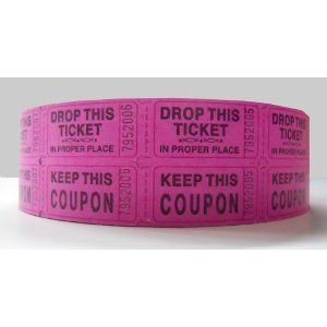 Double Hot Pink Raffle Ticket Roll - 2000 Per Roll $10.99