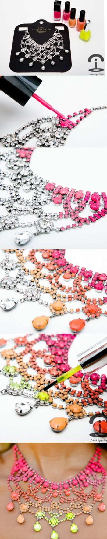 DIY Necklace.  Cool project.  Take an old gaudy necklace from a flea market, goodwill, yard sale, etc. and paint it with your favorite nail polish colors.  So cute.