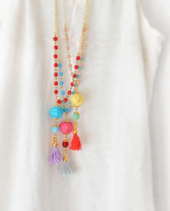 Boho Chic Beaded Necklace  Bohemian Tassel by stellacreations