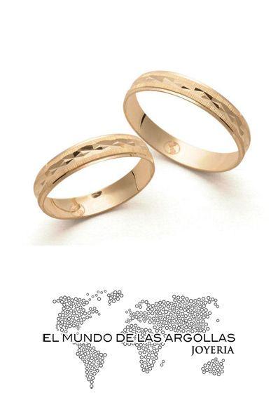 Modelo: A-A00104H Argolla oro amarillo 14k hueco diamantado 4mm #ArgollasDeMatrimonio
