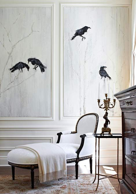 Monochromatic drama ~ love the chaise and use of the application of stone etched ravens ~ Gail Plechaty Design