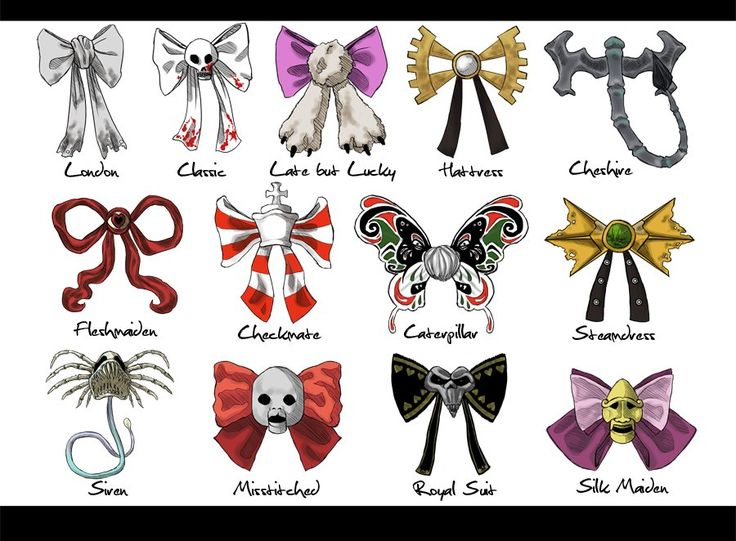 Alice: Madness Returns dress bows - tattoo idea Match a personality with each of these bows Then {if you're feeling brave) swap them around & see what happens