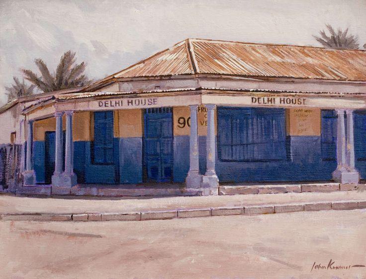 Delhi house, Grassy Park, Cape Town. Oil on canvas by John Kramer.