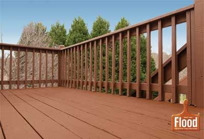 Flood chestnut brown solid wood stain beautifies this deck for Exterior wood stain flood