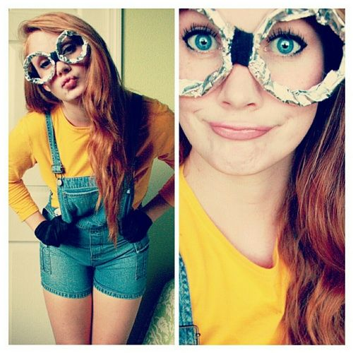 minion costume | Tumblr.   @Emma Zangs Murphy Halloween 2013?!?!?   Minion costume -high waisted jean shorts -yellow shirt -hipster glasses  DONE