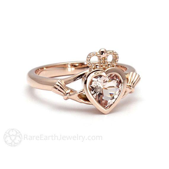 Claddagh Ring Morganite Engagement Ring Irish Promise by RareEarth