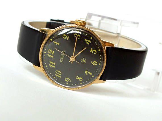 Slim mens watch RAKETA  (Rocket). Mens dress watches Soviet. Classy mens watches 80s. Vintage gold plated watch for men. Russian mens watch.