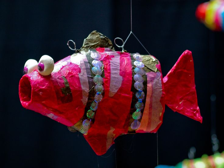 I have just finished a unit with my Grade One kids on Connection.  In their homeroom classes they explored water in relation to Connection and in Art we looked at all the connections to water there are… paper mache, clay, paint and the environment.    These fish  were created from recycled  plastic bottles.