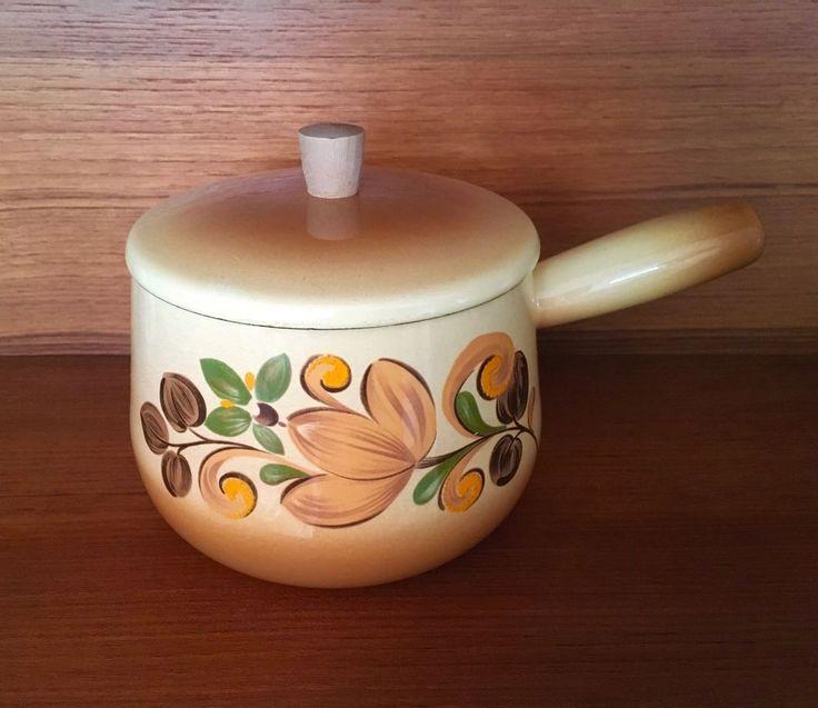 Vtg 60s 70s Enamel Saucepan Scandinavian Flower Power Floral Design Retro Camper    eBay