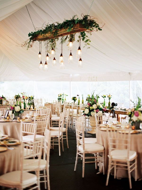 Luxurious Tent Reception with a Mason Jar Chandelier | Emily Katharine Photography | Pastel Natural Glam Wedding