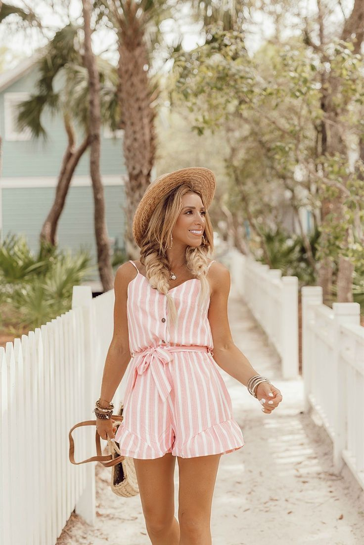Pink Ruffle Romper Womens Rompers Women Summer Romper Outfit Cute Beach Outfits [ 1103 x 736 Pixel ]