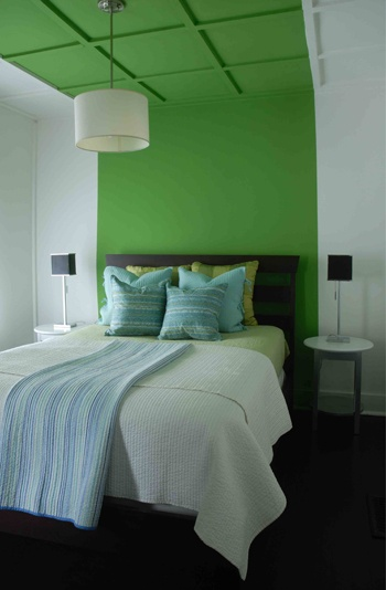 creative focal point . . carry color block on to the ceiling