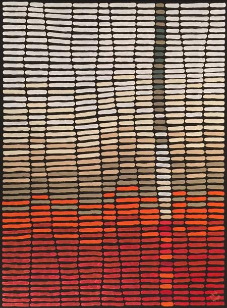 ymutate:  Kurun WarunBody Paint, 2015Acrylic on canvas   118 x 88 cmKurun's works represent the development of contemporary Aboriginal abstract art. While his paintings are often not clear at first glance, the stories they portray being to reveal themselves through colour, line and space.