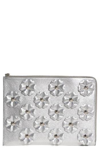 fa09da830e Fendi Studded Flowers Calfskin Clutch | Women's Designer Clutch Bags ...
