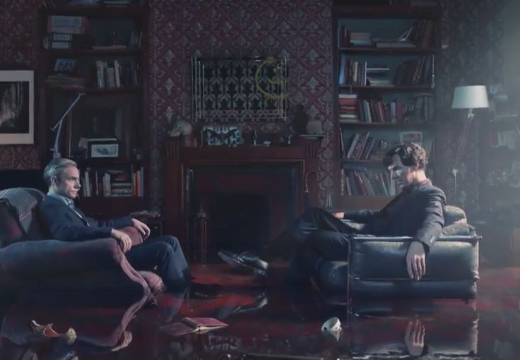 Sherlock Holmes has returned. The first teaser for series four of the popular BBC series was released on Thursday, simply showing Holmes and John Watson up to their ankles in water at 221b Baker Street. Series four will see Toby Jones join the cast as villain Culverton Smith in second episode The Lying Detective - a riff off of The Adventure of the Dying Detective. Here's what we can deduce from the new picture: 1) Is Moriarty back?